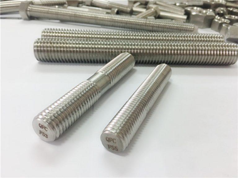 anpassad automatisk maskinbearbetad rostfritt stål fästelement dubbelände gängad stång